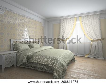 Classic interior in warm tones 3d rendering - stock photo