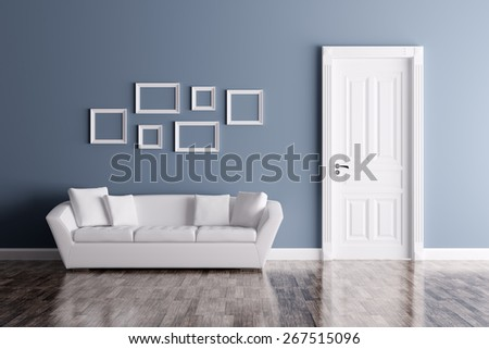 Classic interior of a room with door and sofa