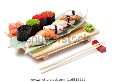 Classic japanese food- sushi on a white