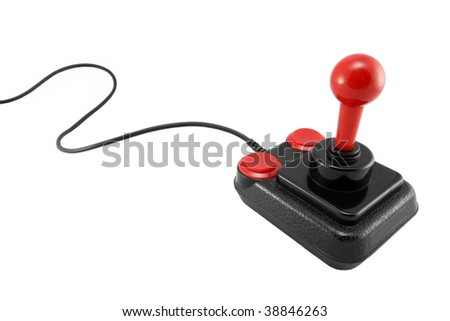 Classic joystick on white background - stock photo
