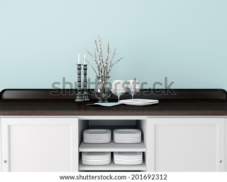 Classic kitchen design. Glass vase and tableware on the wooden worktop. - stock photo