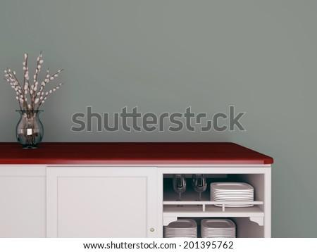 Classic kitchen design. Glass vase on the wooden worktop. - stock photo