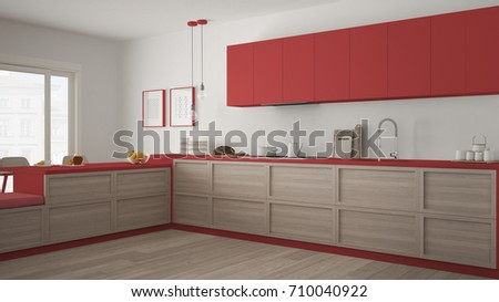 Classic kitchen with wooden details and parquet floor, minimalist white and red interior design, 3d illustration