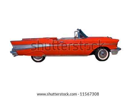 classic, large, American red convertible streetrod on white - stock photo
