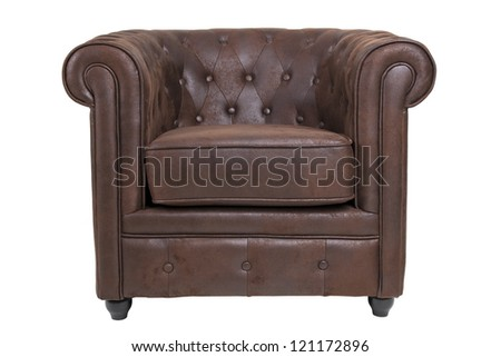 Classic leather armchair - stock photo
