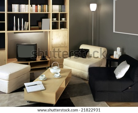 classic living room in the flat - stock photo