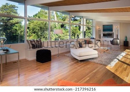 Classic living room interior with view window and hardwood floor. Fitted fire place and sofa, couch with hand-woven natural colored fine sisal runner, rug. - stock photo
