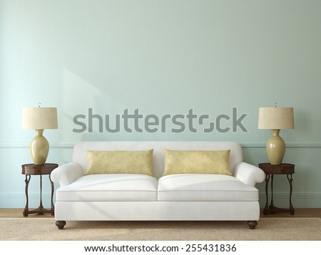 Classic living-room interior with white couch near empty blue wall. 3d render. - stock photo