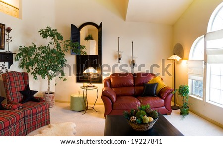 Classic Living Room with Lamps and Couches - stock photo