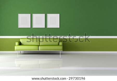 classic living room with modern sofa and empty frame - rendering - stock photo