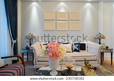 classic living room with nice design and decoration - stock photo