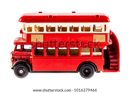 Classic London Bus model isolated over a white background
