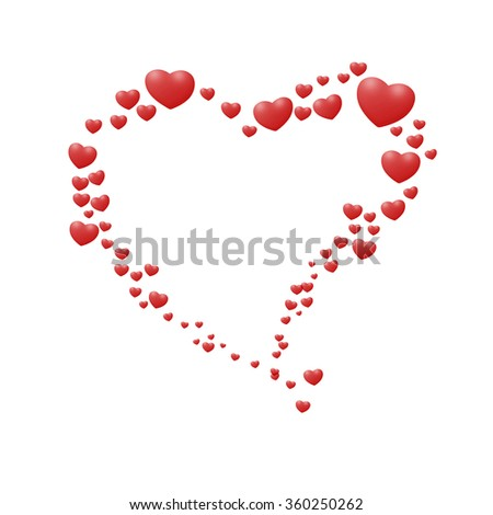 Classic love heart in Valrntines day style for gritting card - stock photo