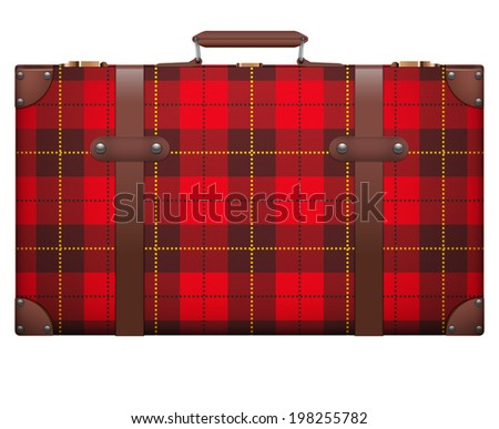 Classic luggage suitcase with red checks texture for travel.  Isolated on white background. Bitmap copy. - stock photo