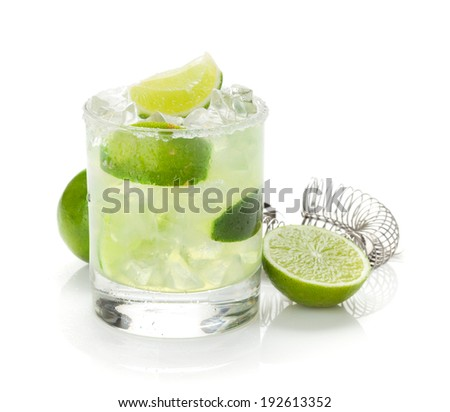 Classic margarita cocktail with lime and salty rim. Isolated on white background - stock photo