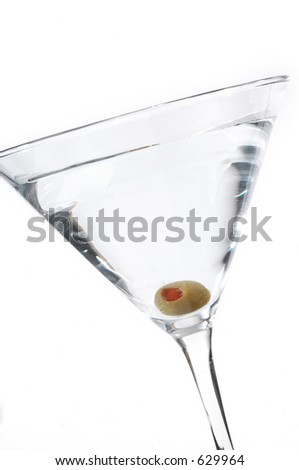 Classic martini with olive photographed on white.
