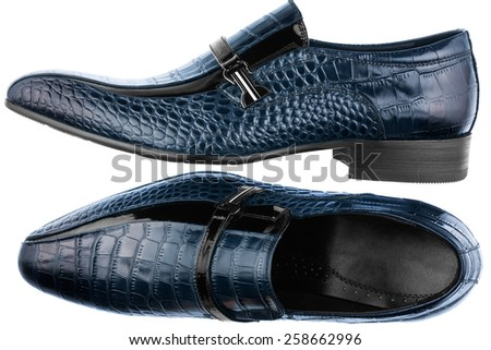 Classic men's blue shoes, isolated on white background - stock photo