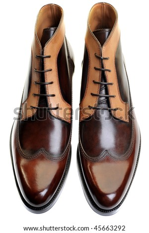 classic mens leather footwear isolated on white - stock photo