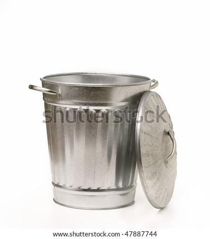 Classic metal silver trash garbage can with lid - stock photo