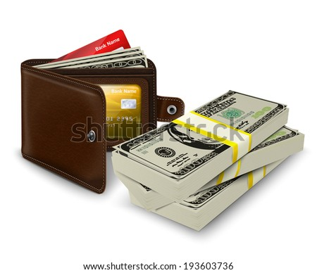 Classic modern brown leather pocket open wallet with credit card money bills and bank roll  illustration - stock photo