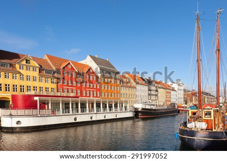 Classic morning view of Nyhavn in Copenhagen, Denmark. - stock photo