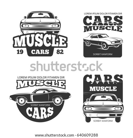 Classic Muscle Car Vintage Template Labels Stock Illustration ...