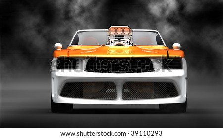 Classic muscle in studio isolated in black smoke filled studio - stock photo