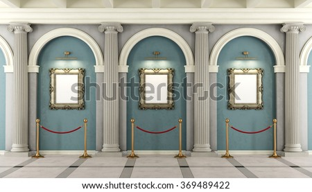 Classic museum with with colonnade and golden frame on wall - 3D rendering - stock photo