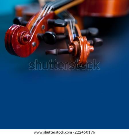Classic music violin vintage close up - stock photo