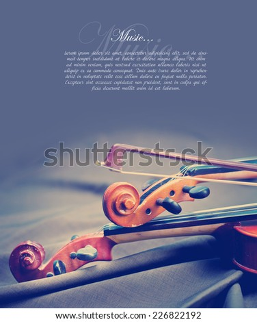 Classic music violin vintage close up - stock photo