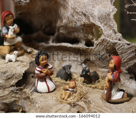 Classic Nativity scene with Jesus, Joseph and Mary in a manger on Christmas 1 - stock photo