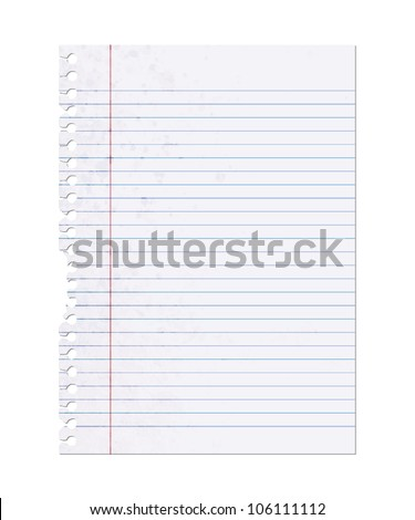 Classic Note Paper, Blank Sheet Illustration Isolated on White - stock photo