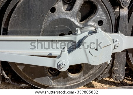 Classic old steel train wheel close up