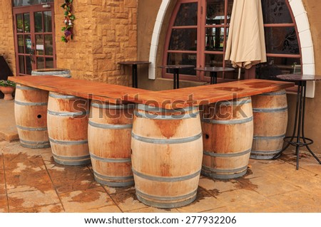 classic old wood bottle or barrel for the table of the restaurants - stock photo