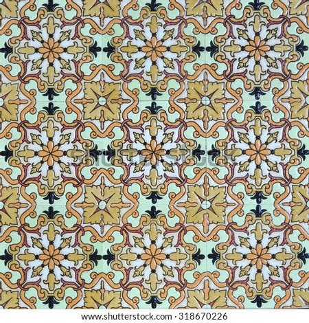 Classic oriental decorative tile patterns. - stock photo