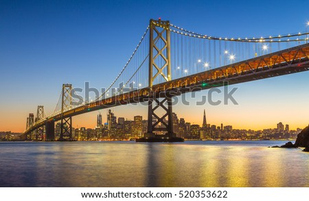 Classic panoramic view of famous Oakland Bay Bridge with the skyline of San Francisco in the background illuminated in beautiful twilight after sunset in summer, California, USA
