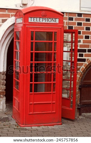 classic phone booth - stock photo