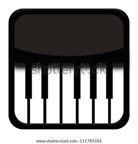 Classic piano icon isolated on white background - stock photo