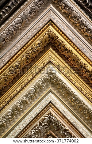 classic picture frames patterns close-up art background - stock photo