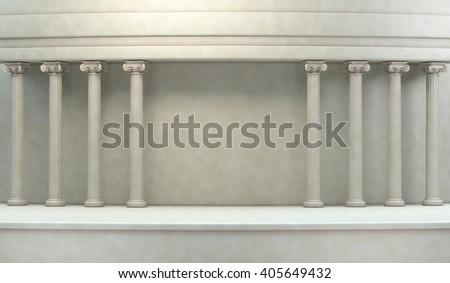 Classic Pillars Background 3d rendering - stock photo
