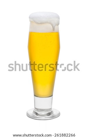 Classic Pilsner Beer with Foam Head and Drip Running Over Rim #1 - stock photo