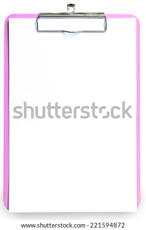 Classic Pink clipboard with blank note pad white paper. Top view isolated background. This has clipping path. - stock photo