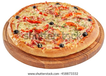 Classic pizza with tomatoes, red pepper and herbs