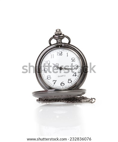 Classic pocket watch isolated on white background