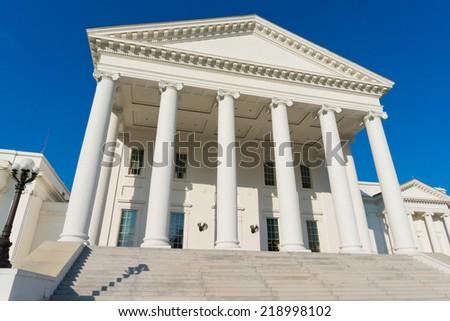 Classic portico architecture. Virginia State Capitol - stock photo