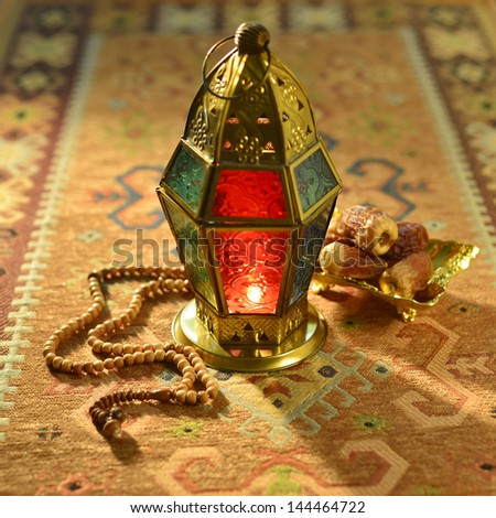 Classic ramadan light and dates - stock photo