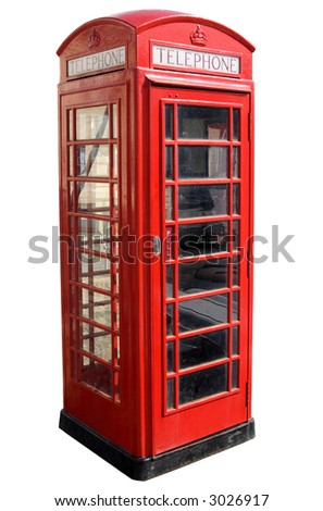 Classic red British telephone box, isolated on a white background. - stock photo