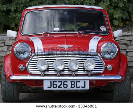 Classic red Mini front taken at the annual London to Brighton Mini Run - stock photo