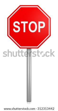 Classic Red Stop Road Sign on White Background 3D Illustration