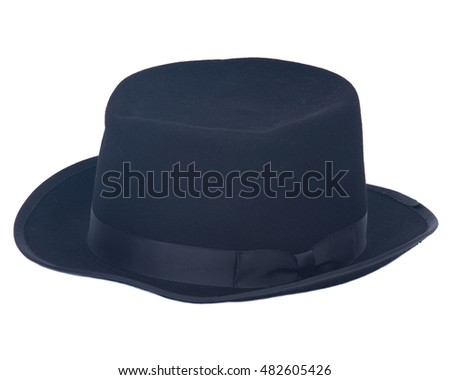 Classic retro black hat on white background
